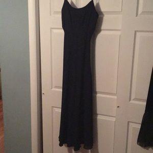 Navy crepe evening dress